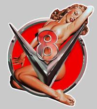 PINUP V8 USA BIG BLOCK HOT ROD 15cm  SEXY EROTIQUE NUE STICKER AUTO (PA091D)