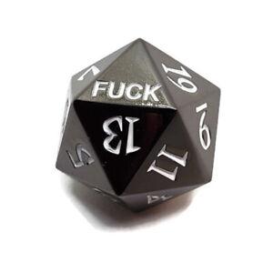 Metal D20 F*** Dice Critical Fail F 20 Sided Die DND Black Gunmetal Color