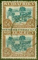 South Africa 1927 2s6d Green & Brown SG37 Fine Used Vert Pair