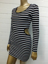 BARDOT STRIPED MINI Tank Stretch BODYCON CUTOUT TOP SKIRT DRESS 34 2 XXS 6