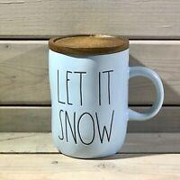 Rae Dunn LET IT SNOW Christmas Mug w/ Coaster ~ Blue Ceramic ~ HTF New Release!