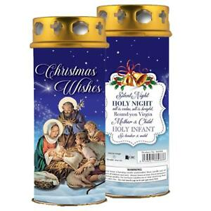 Nativity Pillar Candle and Windproof Cap - Christmas Wishes - Blue