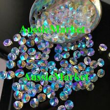 20 x clear ab colour color iridescent beads octagon crystal glass 14mm 2 holes