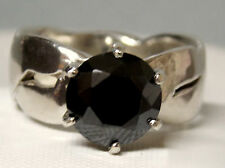 2.50ct moissanite black diamond wide band 925 sterling silver ring size 7.5 USA