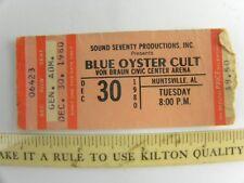 Vtg Blue Oyster Cult Boc Concert Ticket Stub Cultosaurus Erectus Tour 12-3-80 Al