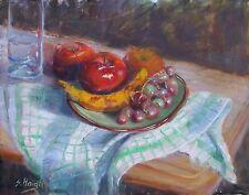 Original Oil Painting Still Life towel Apple Grapes Table glass dish 11x14 Haigh