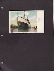 Canada BC -NEW DENVER 1906  SPLIT RING Cancel ON A SS JUNIATA SHIP POSTCARD