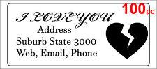 100 Personalised return address label mailing sticker 56x25mm broken heart love