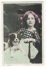 AK Mädchen mit Hund, 1914