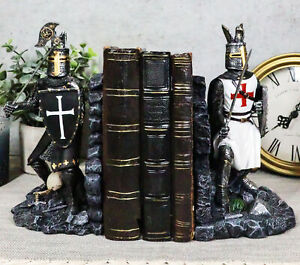 """Black And White Medieval Crusader Knight Bookends Statue 7.5""""H Set Suit Of Armor"""