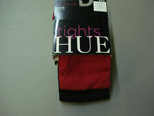 NWT Women's Hue Opaque Tights w/ Control Top 2 Pair Size 1 Apple Red/Black #713T