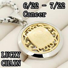 "STAINLESS STEEL SILVER GOLD CANCER ZODIAC HOROSCOPE PENDANT 24""CHAIN 29g E865"