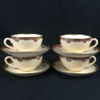Set of 4 VTG Cups and Saucers Multi Floral Gold Trim Fine China Made in JAPAN