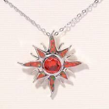 Beautiful Orange Fire Opal 925 Sterling Silver Sun Shine Necklace Silver Chain