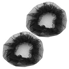 2 Pcs Nylon Mesh Stretchy Ballet Bun Covers Hairnet Black for Woman F2Y0