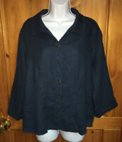 FLAX Womens 3/4 Sleeve Button Down Boxy Teal Shirt Sz Medium 100% Linen EUC