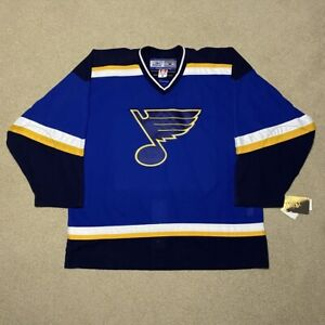 NWT St. Louis Blues Reebok 6100 Pro Hockey Jersey NHL Blue 56 98-07 MiC