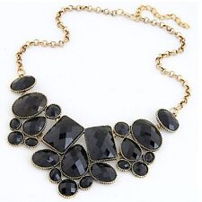 RF Vintage Gold Plated Chain Black  Stone  Statement Necklace Choker