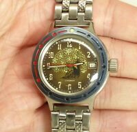 Vostok Wostok Amphibian Watch  17 jewels 2414A caliber Russian Revolution logo