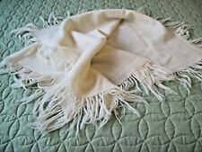 Vintage 1930s Ivory Woven Wool Baby Blanket~fringed