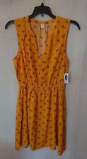 Women's Flowing Yellow/Mustard Colored Floral Old Navy Dress Size Small