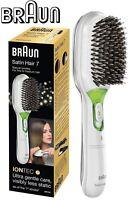 Braun BR750 WHITE Satin Iontec Battery Powered Hair Brush /Removable Cushion Pad