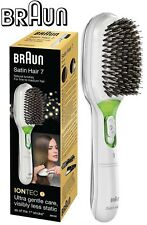 Braun BR750 WHITE Satin Iontec Battery Powered Hair Brush /Removable Cushion Pad