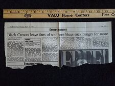 Black Crowes Rock Concert Review 1995, Buffalo Newspaper NY Robinson Shea's