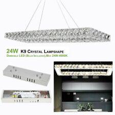 Rectangular K9 Crystal Chandeliers Lighting Pendant Lamp for Home Room Decor 7G