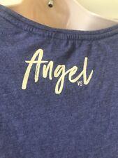 Victoria Secret Short Sleeve Pink Shirt Medium Angel On Back Blue/purple Color
