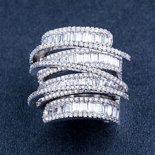 Luxury Princess Cut White Sapphire 925 Silver Jewelry Women Wedding Ring Size 7