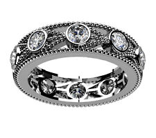 2.00 Ct. Tw Round Diamond Eternity Wedding Band in 14 kt Miligrain Accented Ring