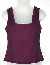 OASIS (UK8 / EU36) DARK METALLIC PURPLE SLEEVELESS STRETCH TOP WITH FRILL TRIMS