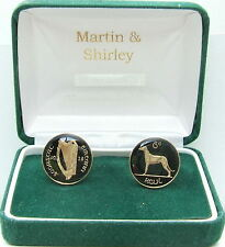 of Old Irish Sixpence in black&gold 1928 Ireland cufflinks made from first year