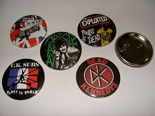 LOT 5 BADGES 56mm  PUNK  THE ADICTS DEAD KENNEDYS THE EXPLOITED SEX PISTOLS ETC