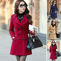 Women's Double Breasted Wool Trench Coat Slim Long Jacket Overcoat Outwear CHEAP
