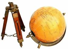 Vintage Brass Antique World Map Table Globe With Wooden Stand
