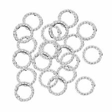 300 Jump Rings Silver-plated Brass 10mm Twisted Round 18 Gauge Soldered Closed