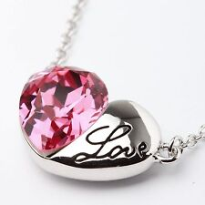 Pink Genuine Austrian Crystal Love Heart18Ct White Gold Plated Necklace Pendant