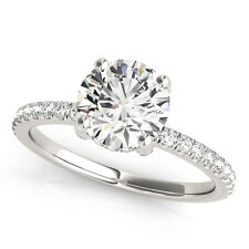 0.75 CT ROUND MOISSANITE FOREVER ONE & DIAMOND  SOLITAIRE ENGAGEMENT RING