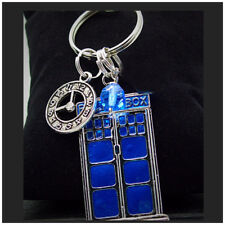 Dr Who Keychain Tardis police box clock charm Key Ring Jewelry silver tone