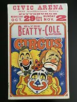 Vintage 1969 Clyde Beatty-Cole Bros. Circus Poster - Civic Arena Pittsburgh