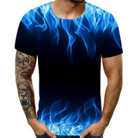 Men's New Summer T-shirt With Round Neck Short Sleeve Blue Flame 3D Printed Tops