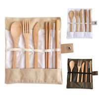 7PCS FLATWARE CUTLERY ECO-FRIENDLY BAMBOO SPOON KNIFE FORK CHOPSTICKS STRAW SET
