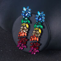 Fashion Women Colorful Rhinestone Geometric Long Pendant Drop Statement Earrings