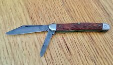 Vintage KINGSTON USA Two Blade Pocket Knife with Brown Jigged Handle