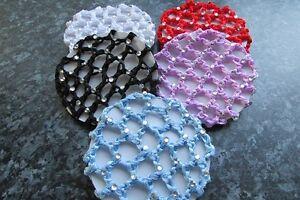 Diamante bun hair net colour crochet thick mesh fabric ballet small 10cm wide