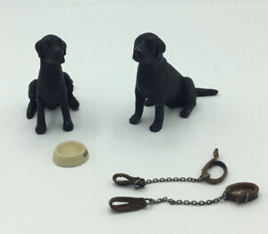 Pair Of Dolls House Black Dogs And Accessories