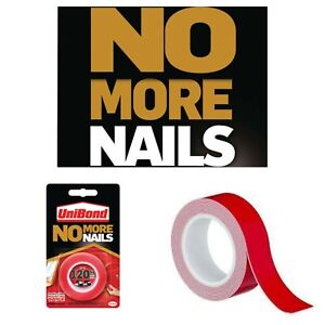 Unibond No More Nails - Double Sided Mounting Hanging Tape Roll RED Permanent