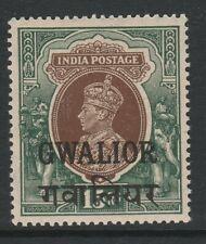 Gwalior 1938-48 George VI 15r Brown & green SG 116 Mnh.